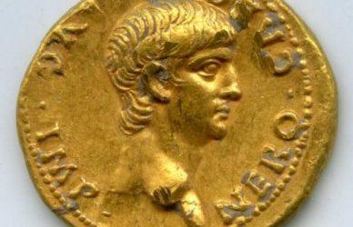 Римская золотая монета с изображением императора Нерона