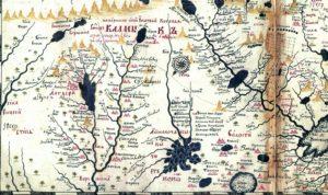 Составленный С. Ремезовым «Чертеж земли всей безводной и малопроходной каменной степи». На чертеже изображены Казахстан и Средняя Азия. Наверху — юг, слева темным пятном обозначено озеро Балхаш, в которое впадают реки Или, Кошлар, Ленши и др. Это район Семиречья. Справа слабо выделяются контуры Каспийского моря, в которое с севера впадает река Яик (Урал); левее Аральское море с реками Аму-Дарьей и Сыр-Дарьей. На чертеже изображены озера, дороги, тропы, растительность, горы.