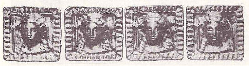 Золотые бляшки с изображением лица богини