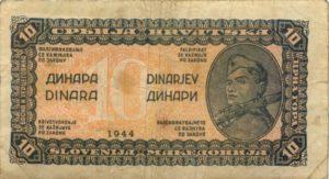 В 1944 году Демократическая Федеративная Югославия выпустила банкноты 1, 5, 10, 20, 50, 100, 500 и 1000 динаров.
