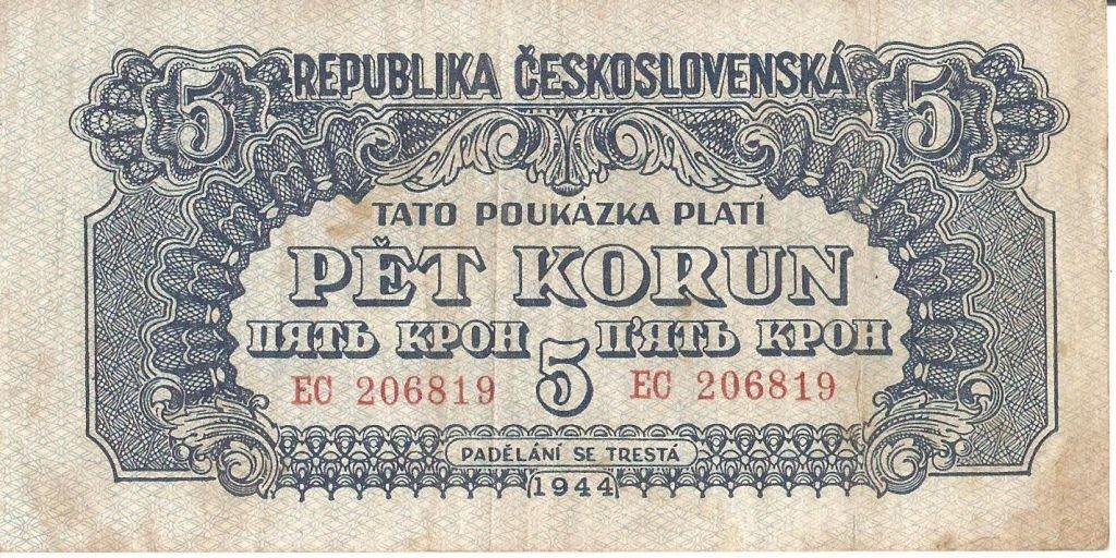 Во время освобождения Чехословакии в феврале 1945 года поступили в обращение отпечатанные в Советском Союзе на Гознаке кроны образца 1944 года: банкноты в 1, 5, 20, 100, 500 и 1000 крон.