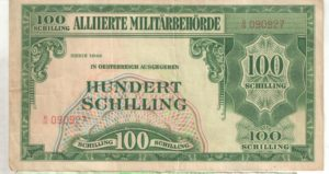 Денежные знаки, выпускавшиеся союзным командованием в Австрии и обращавшиеся в 1944 году параллельно с рейхсмаркой.