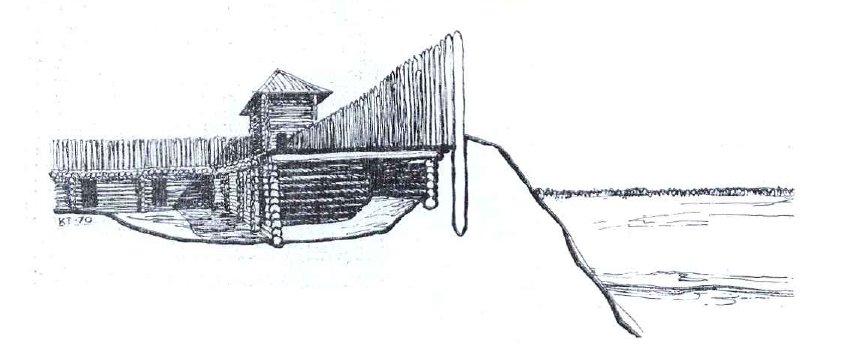 Реконструкция оборонительных сооружений набережной стороны Старой Рязани. Рисунок Т. Кудрявцевой.