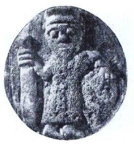 Костяной кружок, шашка с изображением воина. Найден при раскопках боярской усадьбы. Раскопки 1969 года.